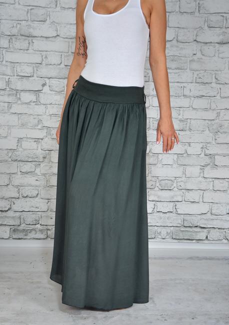 Zwiewna Maxi Długa Spódnica Kieszenie Long Grafitowa