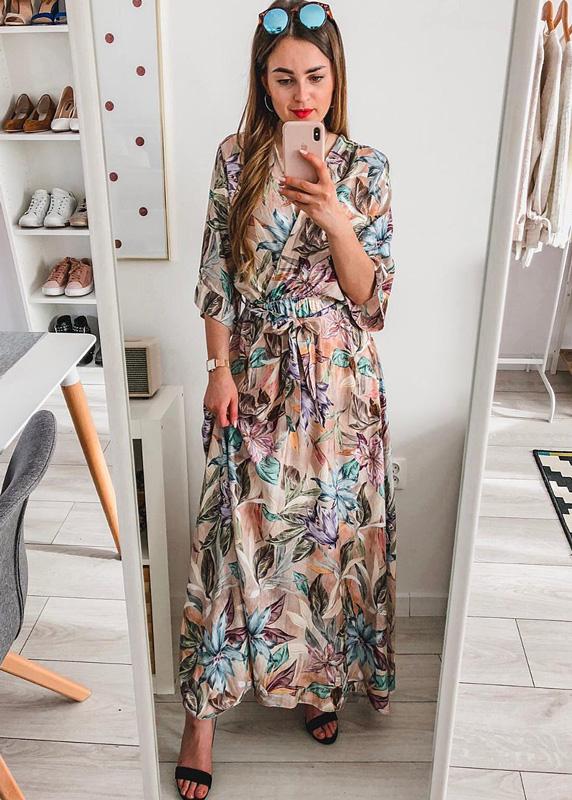 04938c860 Długa Sukienka Dekolt Kopertowy Maxi Boho Flowers - FidoStyle